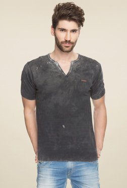 Spykar Dark Grey Half Sleeves Cotton T-Shirt