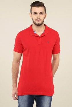 Spykar Red Slim Fit Polo T-Shirt