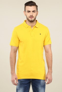 Spykar Yellow Slim Fit Cotton Polo T-Shirt