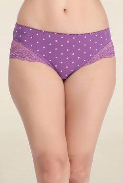 Clovia Purple Heart Print Mid Waist Hipster Panty