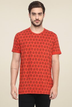 Spykar Orange Round Neck Half Sleeves T-Shirt