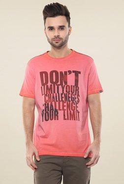 Spykar Pink Round Neck Half Sleeves T-Shirt