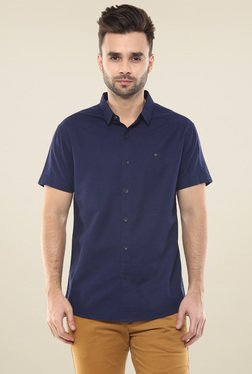 Spykar Navy Half Sleeves Cotton Shirt