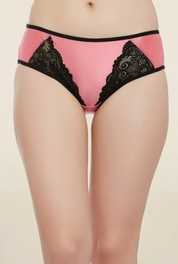 Clovia Pink Lace Mid Waist Hipster Panty