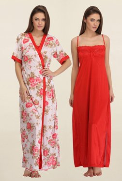 Clovia Red & White Floral Print Nightie With Robe