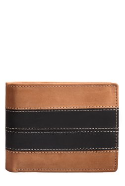 Teakwood Leather Tan & Black Bi-Fold Wallet