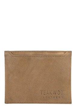 Teakwood Leathers Dark Beige Solid Bi-Fold Wallet