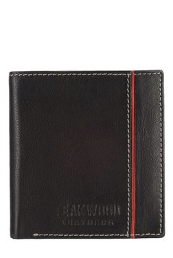 Teakwood Leathers Black & Red Panelled Bi-Fold Wallet