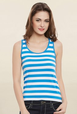 Clovia Blue & White Striped Tank Top With Racerback