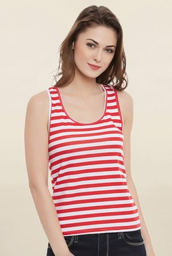 Clovia Red & White Striped Tank Top With Racerback