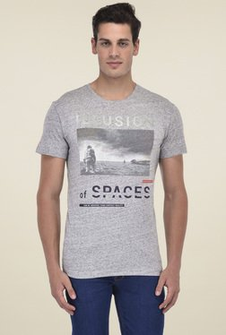 Octave Light Grey Printed Cotton T-Shirt