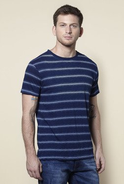 Zudio Indigo Crew Neck Slim Fit T Shirt