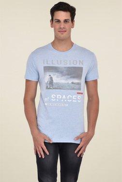 Octave Sky Blue Printed Round Neck Cotton T-Shirt