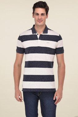 Octave Beige & Black Striped Cotton Polo T-Shirt
