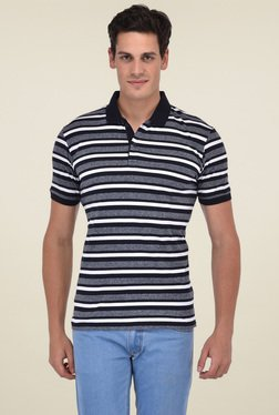 Octave Grey & White Half Sleeves Striped T-Shirt