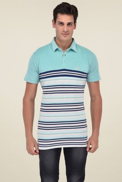 Octave Blue & Navy Half Sleeves Striped Polo T-Shirt