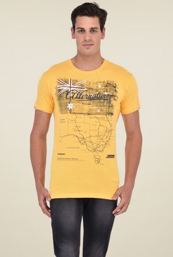 Octave Yellow Round Neck Cotton T-Shirt