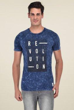 Octave Dark Blue Round Neck Regular Fit T-Shirt