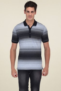 Octave Sky Blue & Black Striped Cotton Polo T-Shirt