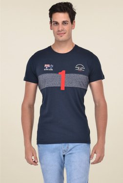 Octave Navy Regular Fit Cotton Half Sleeves T-Shirt