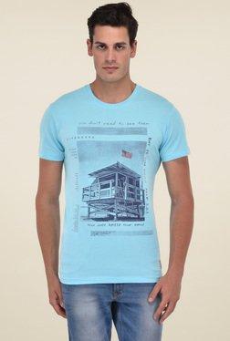 Octave Aqua Blue Printed Round Neck Cotton T-Shirt