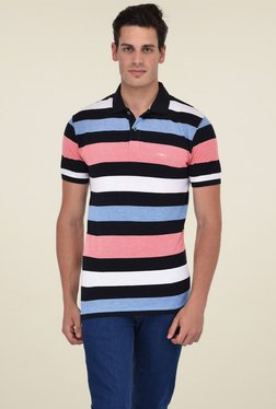 Octave Pink & Black Striped Cotton Polo T-Shirt