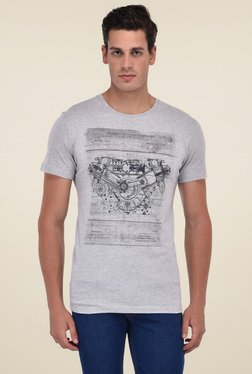 Octave Grey Cotton Round Neck Printed T-Shirt
