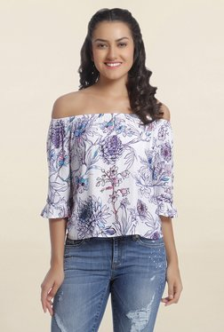 Only White Floral Print Off Shoulder Top