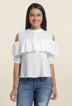 Only White Embroidered Cold Shoulder Top