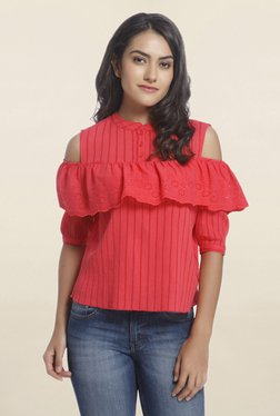 Only Coral Striped Cold Shoulder Top