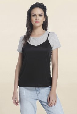 Only Black & Grey Solid Top