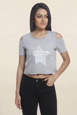 Only Grey Graphic Print Cold Shoulder Crop Top