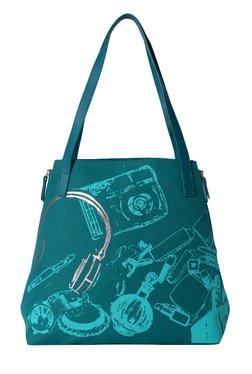 Baggit Uptown Sasha Teal Blue Printed Nylon Shoulder Bag