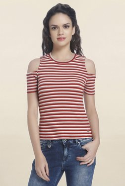 Only Red & White Striped Cold Shoulder Top