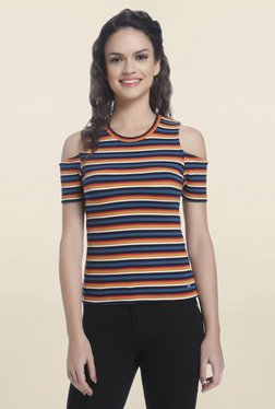 Only Navy Striped Cold Shoulder Top
