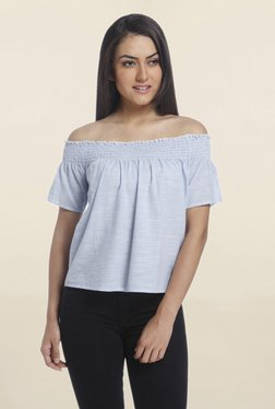 Only Blue Pin Striped Off Shoulder Top