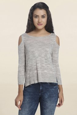 Only Grey Textured Cold Shoulder Pullover
