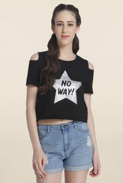 Only Black Cold Shoulder Graphic Print Crop Top