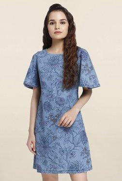 Only Blue Floral Print Above Knee Dress