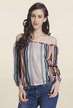 Only Multicolor Off Shoulder Striped Top