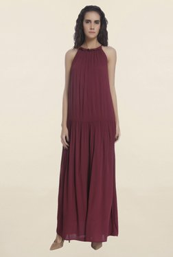 Vero Moda Maroon Round Neck Maxi Dress