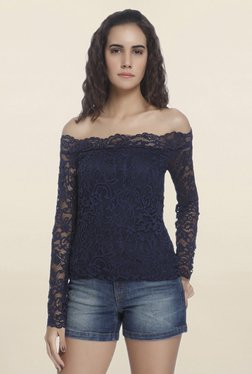 Vero Moda Navy Lace Off Shoulder Top