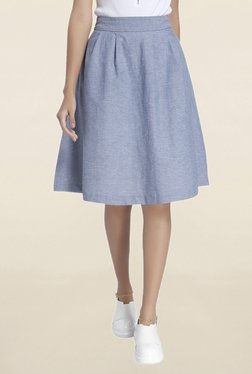 Vero Moda Blue Textured Knee Length Skirt
