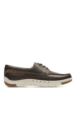 Clarks Unmaslow Edge Dark Brown Lea Derby Shoes