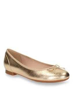 45d60c769b54 Clarks Couture Bloom Champagne Gold Flat Ballets
