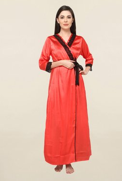 Valentine Red Printed Satin Nightie With Robe