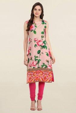 Ahalyaa Pink Floral Print Cotton Kurti