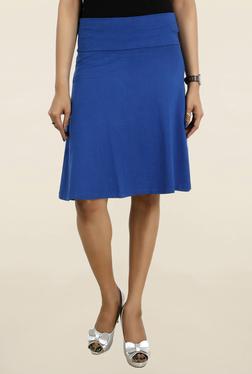 Chemistry Blue Solid Knee Length Skirt