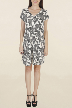 Chemistry Off White & Black Floral Print Knee Length Dress
