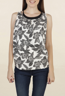 Chemistry Off White & Black Floral Print Top